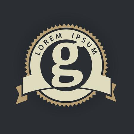 G letter vintage royal heraldry hipster emblem label template Illustration