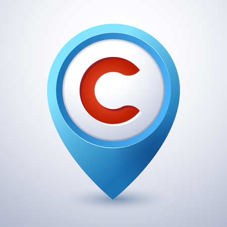 C letter map pin pointer mobile application icon template Illusztráció