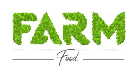 Logo d'étiquette de texte de nourriture de ferme avec des lettres de texture de feuille verte Logo