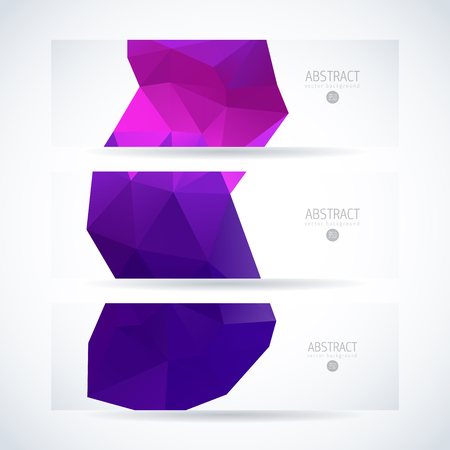 Vector design template set of banner, header for website with modern purple triangle abstract background