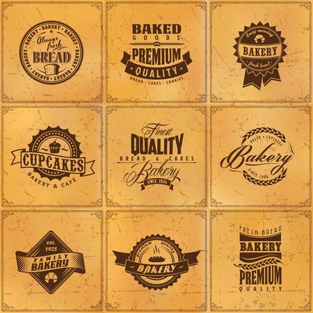 Set of bakery bread label retro design elements on brown grunge texture