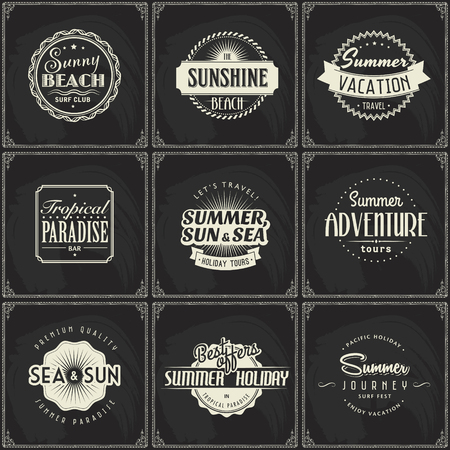 Summer travel and beach party logo set on blackboard background