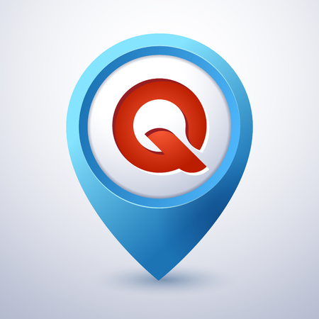 Q letter map pin pointer mobile application icon template