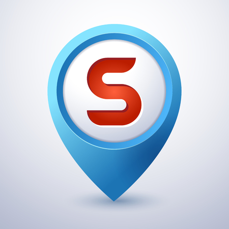 S letter map pin pointer mobile application icon template Illusztráció