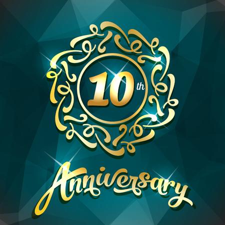 10th anniversary label golden design elements template for greeting card or invitation Illusztráció