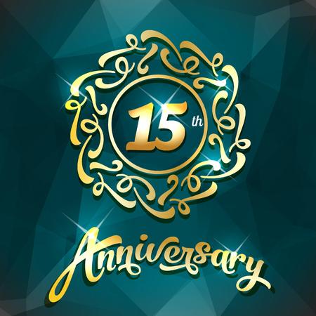15th anniversary label golden design elements template for greeting card or invitation Illusztráció