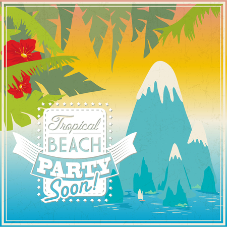 Summer beach party logo or poster template  on tropical background for travel agency 向量圖像