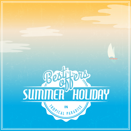 Summer vacation tour logo or poster template  on tropical background for travel agency 向量圖像