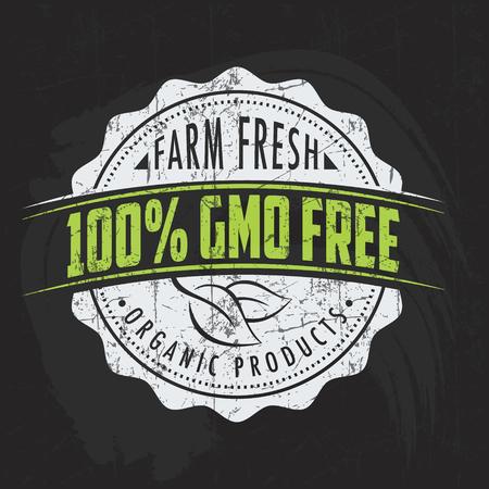 Vintage eco green chalk lettering sticker label of healthy organic natural farm fresh food on blackboard