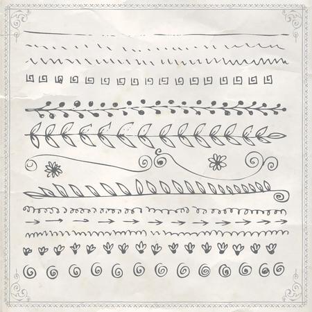 Vector hand drawn line border frame doodle design elements set on vintage paper background 向量圖像