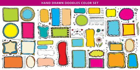 Hand drawn doodle color line, border, frame vector design element set. Template for invitation or greeting card. 向量圖像