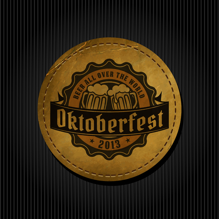 Craft beer brewery logo on round label vintage paper background