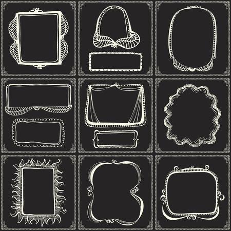 Chalkboard style hand drawn doodle frames, border lines and design elements 向量圖像