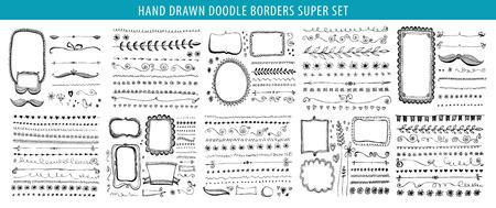 Hand drawn line, border, frame vector design element set. Template for invitation or greeting card. 向量圖像