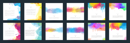 Big set of bright colorful vector watercolor background for poster, brochure or flyer 向量圖像