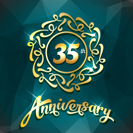 35th anniversary label golden design elements template for greeting card or invitation 向量圖像
