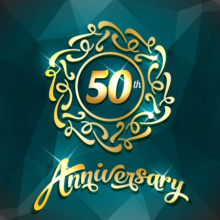 50th anniversary label golden design elements template for greeting card or invitation