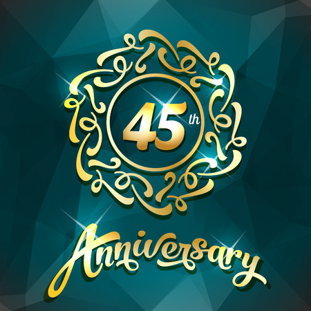 45th anniversary label golden design elements template for greeting card or invitation 向量圖像
