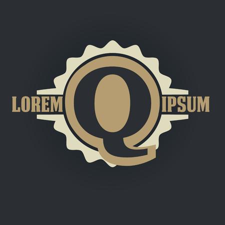 Q letter vintage royal heraldry hipster emblem label template 向量圖像