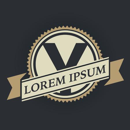 Y letter vintage royal heraldry hipster emblem label template 向量圖像