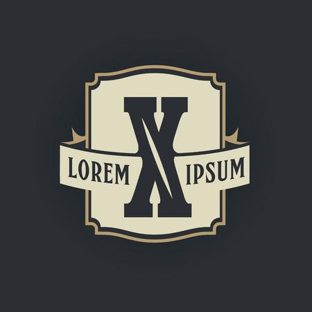 X letter vintage royal heraldry hipster emblem label template