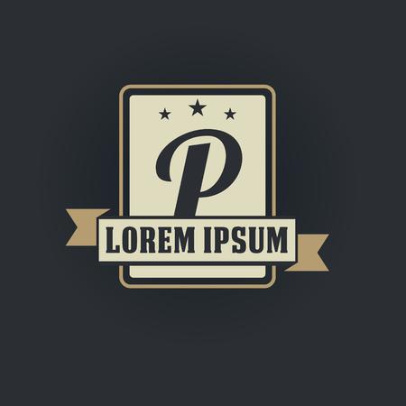 P letter vintage royal heraldry hipster emblem label template 向量圖像