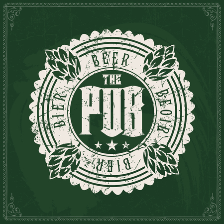 Craft beer brewery logo on vintage green chalkboard background. Template for bar or pub.