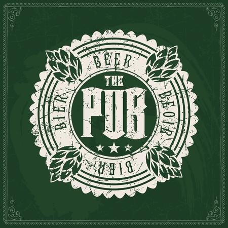 Logo della fabbrica di birra artigianale su priorità bassa verde vintage della lavagna. Modello per bar o pub.