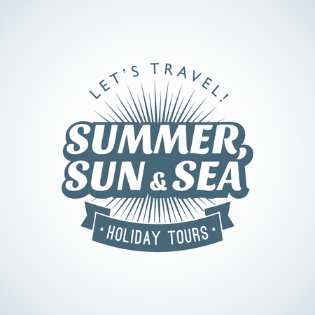 Summer vacation blue flat logo template for travel agency 向量圖像