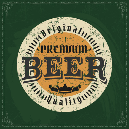 Craft beer brewery color logo on vintage green chalkboard background. Template for bar or pub.