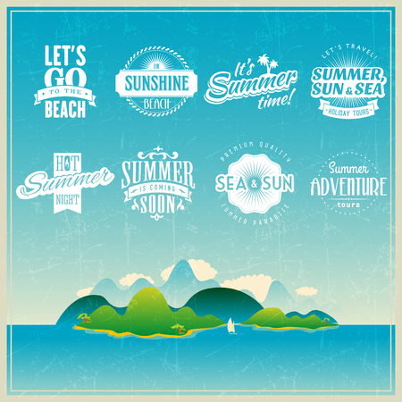 Summer travel vacation tropical beach party labels template set