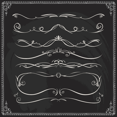 Hand drawn thin border lines dividers and frames in Victorian style on blackboard