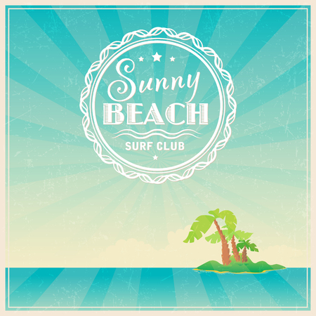 Summer surfing festival logo or poster template  on tropical background