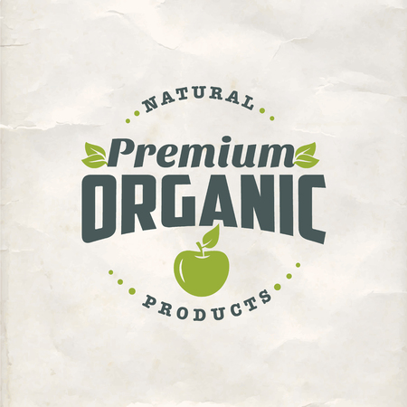 Natural organic food vintage flat label on old paper background 向量圖像