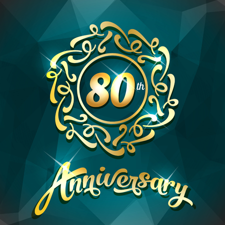 80th anniversary label golden design elements template for greeting card or invitation