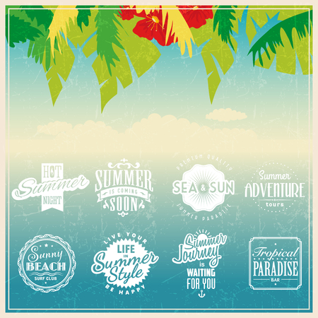 Summer travel vacation tropical beach party labels template set 版權商用圖片 - 117904636