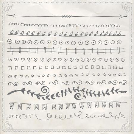 Vector hand drawn line border frame doodle design elements set on vintage paper background 版權商用圖片 - 117904637