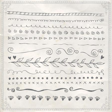 Vector hand drawn line border frame doodle design elements set on vintage paper background  イラスト・ベクター素材