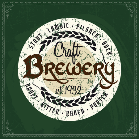 Craft beer brewery color logo on vintage green chalkboard background. Template for bar or pub.