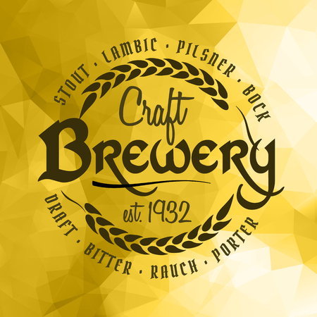 Craft beer brewery label logo on vintage yellow ice triangle background. Template for bar or pub.