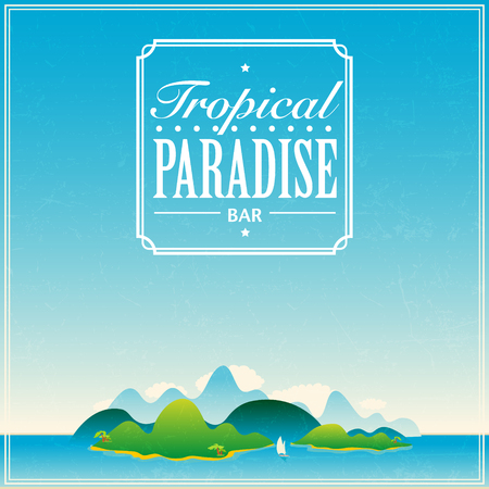 Summer beach bar logo or poster template  on tropical background