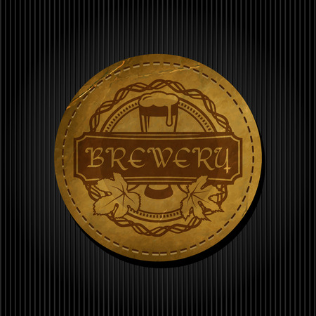 Craft beer brewery logo on round label vintage paper background 版權商用圖片 - 117904671