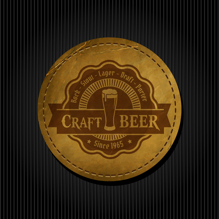 Craft beer brewery logo on round label vintage paper background