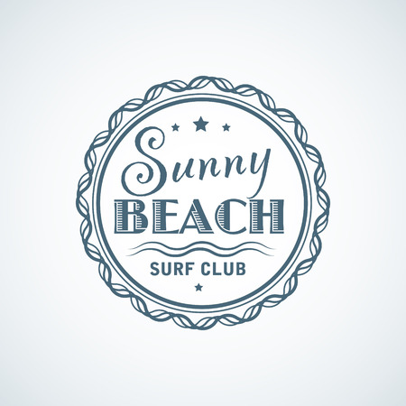 Summer vacation blue flat logo template for surf club 向量圖像