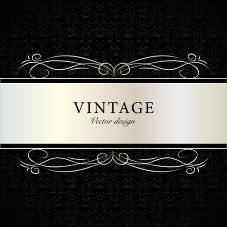 Hand drawn black vintage victorian doodle calligraphy card template