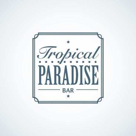 Summer vacation blue flat logo template for beach bar