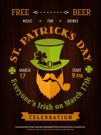 Saint Patricks day party hipster leprechaun  poster invitation template old wood background. Good for bar or pub event