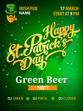Saint Patricks day party poster invitation template golden hand drawn calligraphy text on green beer background. Good for bar or pub event