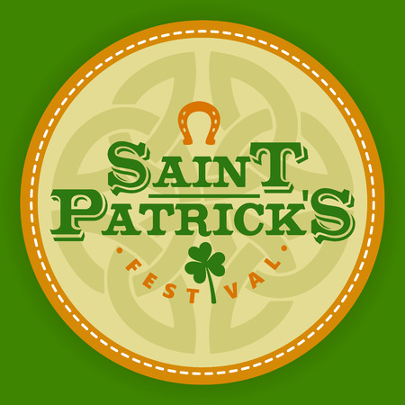 Saint Patricks day logo round labels icon . Template for beer party invitation in bar or pub 向量圖像