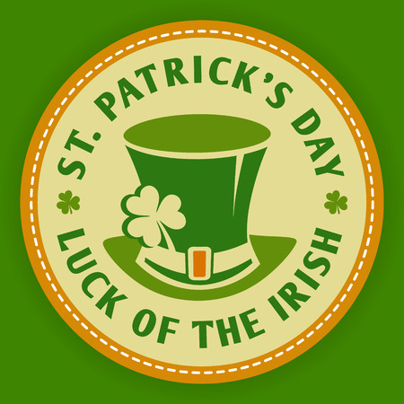 Saint Patricks day logo round labels icon . Template for beer party invitation in bar or pub Vettoriali